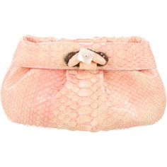 Pre-owned Nancy Gonzalez Python Two-Tone Clutch ($400) ❤ liked on Polyvore featuring bags, handbags, clutches, yellow, pink purse, pink clutches, python handbags, python purse and red handbags
