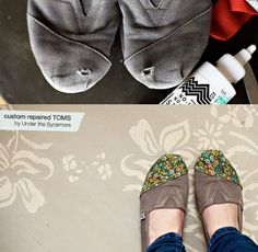 Repair you toms! Mine had a huge hole in the toe, and I couldnt bear to toss them. I used cream colored canvas that I purchased from the scrap pile for under a dollar. You will also need a denim iron on patch (for jeans) to patch the hole, Fabric glue and very sharp scissors. Make sure you finish the edge of your fabric before you glue, or it will unravel and become a mess.