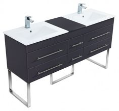 Products Stand Badmöbel Roma Xl Anthrazit Seidenglanz EmotionEmotion Laminate Flooring: The Basics A Contemporary Bedroom Sets, Contemporary Bathrooms, Black Bedroom Furniture, Bathroom Furniture, Black Vanity Set, Ikea Lack Regal, Home Design, Furniture Direct, Double Vanity