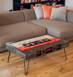 Quirky Cassette Tape Coffee Tables Add a Touch of Nostalgia to Any Room Unusual Furniture, Money Clothing, Examples Of Art, Diy Craft Projects, Crafts, Wood Design, Couch, Cassette Tape, Interior Design