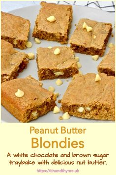 A white chocolate and brown sugar traybake made extra special with copious amounts of nut butter. If you've not tried these super easy-to-make, crowd-pleasing peanut butter blondies before, you're in for a treat. #TinandThyme #EasyToMake #PeanutButterRecipes #WhiteChocolateRecipes #blondies Easy Baking For Kids, Baking Recipes For Kids, White Chocolate Recipes, Peanut Butter Recipes, Home Baking, Blondies, Tray Bakes, No Bake Cake, Brown Sugar