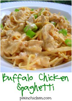 Buffalo Chicken Spaghetti Recipe - chicken and spaghetti tossed in a cream cheese, buffalo, cheddar and Ranch sauce - OMG! SO good. I wanted to lick the plate!