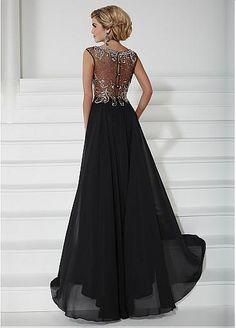 Chiffon A-line Gown Bateau Illusion Neckline Floor-Length Mother Dress