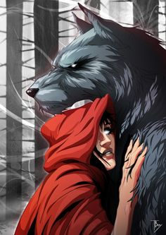 DeviantArt: More Like Little Red Riding Hood and Big Bad Wolf by maudt Little Red Ridding Hood, Red Riding Hood Wolf, Werewolf Art, Vampires And Werewolves, Wolf Love, Big Bad Wolf, Red Hood, Mythical Creatures, Dark Art