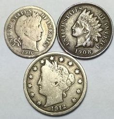 Neat coin lot w/ Barber dime, Indian Head penny + Liberty V 5¢. Take a LOOK!