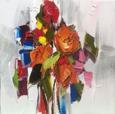 "Kimberly Kiel - Coming Up Roses IV - 16"" x 16"" - oil on canvas"