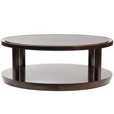 For Sale on - An ebonized mahogany, two-tier circular low coffee table on recessed casters with black laminate top. Table Desk, Table Furniture, Luxury Furniture, Furniture Design, Dining Table, Brownies, Side Coffee Table, Low Tables, Center Table
