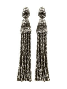 CLASSIC LONG TASSEL EARRING - Oscar de la Renta$395.00 First spotted on the runway and a favorite among the fashion set, these long beaded tassel earrings are a timeless approach to sophisticated glamour. For the ultimate statement, wear with the hair swept to the side.