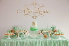 Mint green dessert bar