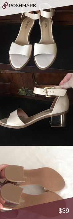 🎄NWT Boohoo Vegan Gold Heel Ankle Strap Shoes. 8 🎄NWT Boohoo Vegan Gold Heel Ankle Strap Shoes. Size 8. Brand new.  One slight mark on back of right heel from manufacturer. See picture 4.  Shoes are khaki color. Boohoo Shoes Heels