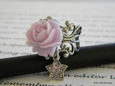 Starry Night Rose Ring FREE SHIPPING by ArtsyLadyBoutique on Etsy, $13.00