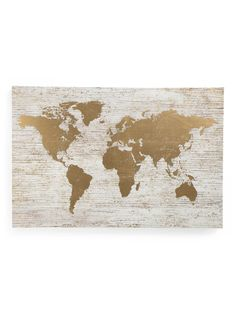 Large Gold Foil World Map On Canvas - Global Home - T.J.Maxx