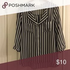 Black and white stripe sheer blouse. Black and white blouse, sz M.  3/4 sleeves. Tops Blouses - white and red blouse, womens white collared blouse, blouse coton *sponsored https://www.pinterest.com/blouses_blouse/ https://www.pinterest.com/explore/blouses/ https://www.pinterest.com/blouses_blouse/silk-blouse/ http://www.wetseal.com/tops-shirts-blouses/