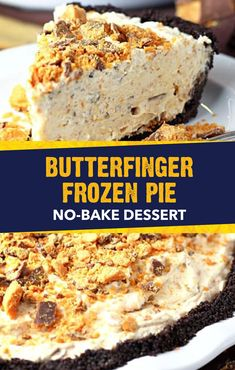 This summer, cool off with a slice of this Butterfinger® Frozen Pie. Full of crispety, crunchety, peanut-buttery flavors, this dessert recipe is perfect for entertaining friends and family. Start with a chocolate cookie crust. Then, add the cream cheese filling to complete this no-bake treat.