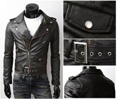 Men's PU Leather Biker Jacket with Zipper Detail