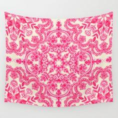 Hot Pink & Soft Cream Folk Art Pattern Wall Tapestry