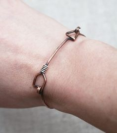 Arrow Bracelet Oxidized Copper Silver Wire by Karismabykarajewelry