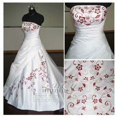 Best Quality Royalty Satin Red Embroidered Wedding Gown EH100