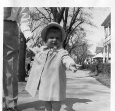 Photograph Snapshot Vintage Black and White: Girl Bonnet Dress Sidewalk 1950's