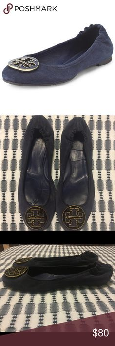 Tory Burch navy suede Reva flats shoes 9.5 Size 9.5. Some gentle wear. A few small scuffs on the logo and the interior footbed lining sliding around a bit so it could be reglued if it bothers you. In otherwise very hood preowned condition. Tory Burch Shoes Flats & Loafers