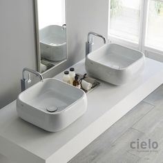 Lavabo da appoggio 40 Bianco Shui - Lavabo Bianco da bagno Ceramica Cielo