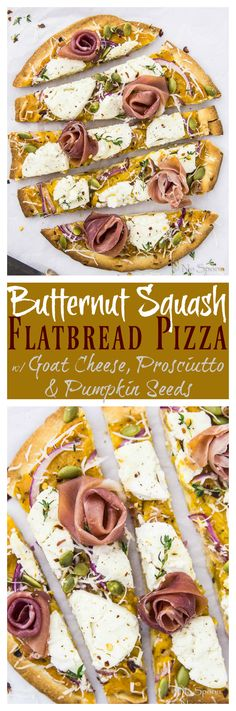 Easy Butternut Squash Flatbread Pizza with Goat Cheese, Prosciutto & Pumpkin Seeds