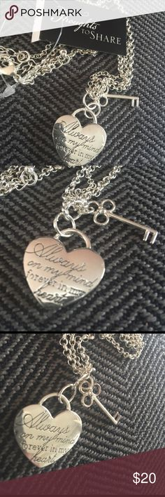 """Women's Necklace. Heart Thoughts to share. Silver metal plated color heart pendant and key to heart. """" Always on my mind, forever in my heart.❤️ Awe!!  someone's going to be happy. Thoughts to Share Jewelry Necklaces"""
