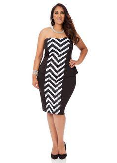 Chevron Front Tube Dress - Ashley Stewart