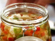 Homemade Hot Giardiniera from FoodNetwork.com Also added some chopped green olives and I do 1 cup canola oil and 1 cup olive oil. .Really good on pizza and salad.