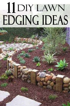 Front Yard Landscaping UPGRADE your yard with these beautiful lawn edging ideas you can do yourself. - A nice clean garden edge gives your landscape definition and texture. Check out these 11 DIY lawn edging ideas for your yard! Landscape Edging Stone, Landscape Design, Stone Edging, Landscape Bricks, Landscape Timbers, Landscape Architecture, Unique Garden, Easy Garden, Herb Garden