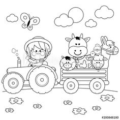 Tractor Coloring Pages, Farm Animal Coloring Pages, Cute Coloring Pages, Cartoon Coloring Pages, Adult Coloring Pages, Coloring Pages For Kids, Coloring Books, Kids Coloring, Coloring Sheets