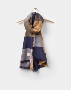 Berkley Warm Camel Check Soft Handle Oblong Scarf , Size One Size | Joules UK