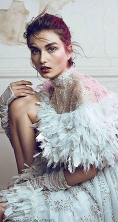Andreea Diaconu in 'Couture Creations' Photographer: Lachlan Bailey Dress: Chanel Haute Couture S/S 2013 WSJ Magazine July/August 2013 Fashion Art, Feather Fashion, Foto Fashion, Fashion Week, Editorial Fashion, Fashion Design, High Fashion Hair, White Editorial, Editorial Hair