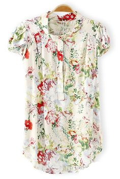 Sweet Floral Print! Green Floral Short Sleeve Print Button Summer Blouse #Sweet #Floral #Summer #Blouse #Fashion
