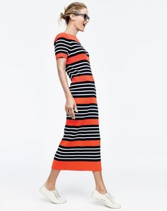 Try a long-ish dress. Forget what you've heard about horizontal stripes. They are flattering, especially on a slim (but not too tight) J.Crew women's Collection striped sweater-dress.