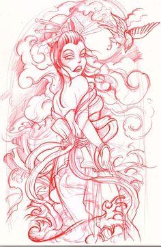 geisha sketch by ~mojoncio on deviantART