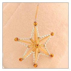 "Silver and Gold Glass Bead Magic Star Ornament ~ 3"" ~ Czech Republic"