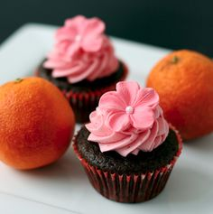 Chocolate Olive Oil and Blood Orange Cupcakes, made with light olive oil with a fragrant blood orange flavor.