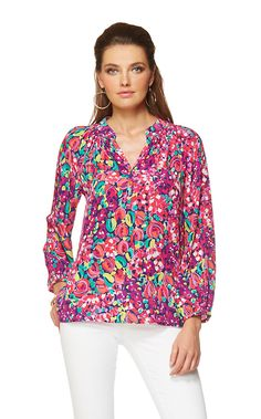 Elsa Top - Wild Confetti.  Pair it with navy pants or your favorite skinnies and a sweater as cool evenings approach.