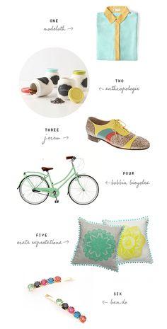 the jars and the mint green Bobbin Birdie bike, please. via eat drink chic.