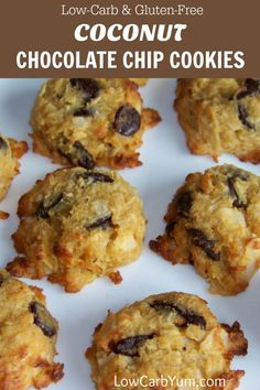 Soft and chewy low carb coconut chocolate chip cookies. These gluten free cookies are made with coconut flour and sweetened with stevia and erythritol. | LowCarbYum.com