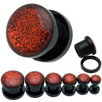 Pair of Red Gleaming Dome Ear Flesh Plugs- Easy Screw-On plugs - High Quality Acrylic-  Choose from Available Sizes: 8G (3.2mm), 6G (4mm), 4G (5mm), 2G (6mm), 0G (8mm) and 00G (9mm) - msin2388