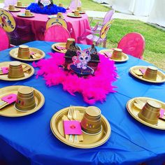 Great table setup for girls party shimmer and shine