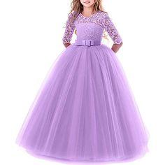 108db290f Vestido de niña de flores para la boda Princesa Largo Gala Encaje De  Ceremonia Vestidos de