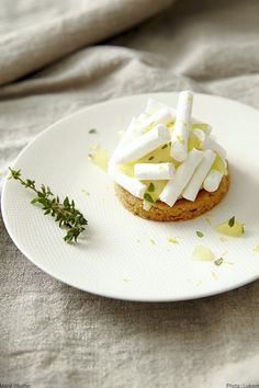 #Shortbread biscuit with #lemon cream and thyme, #meringue sticks