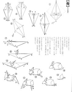 origami chameleon folding diagram instructions pattern