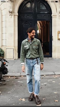 Stylish Men, Men Casual, Smart Casual, Military Fashion, Mens Fashion, Military Looks, Military Jacket, Army Shirts, Looks Style