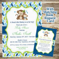 Cute little monkey boy baby shower invitation boy baby showers monkey baby shower invitation baby shower invitation baby shower boy monkey invite monkey book request card printable filmwisefo Image collections