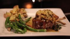 Winter warmth: Seasoned Lamb Cutlets with Glazed Mint Jelly served with Rosemary Pan-Fried Potatoes, Green Beans tossed with Prosciutto, Stilton Cheese and Walnuts