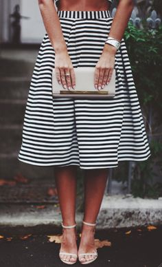 black and white stripes w/a nude shoe